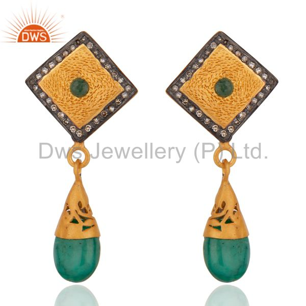 Pave Diamond Emerald 18K Gold Plated 925 Sterling Silver Dangle Earring Jewelry