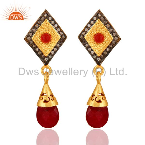 14K Yellow Gold Plated Red Aventurine Gemstone Designer Earrings With CZ