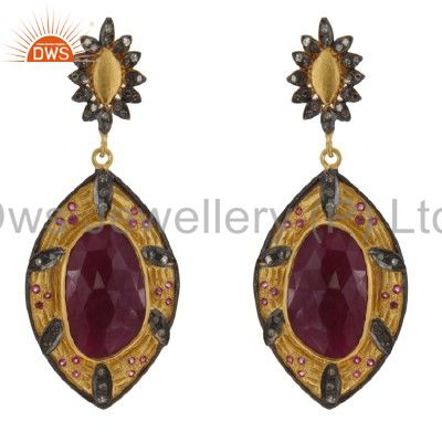 18K Gold Sterling Silver Ruby And Pave Set Diamond Vintage Dangle Earrings