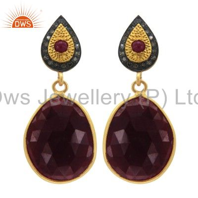 Ruby Slice Gemstone Pave Diamond 18k Gold Plated 925 Sterling Silver Earrings