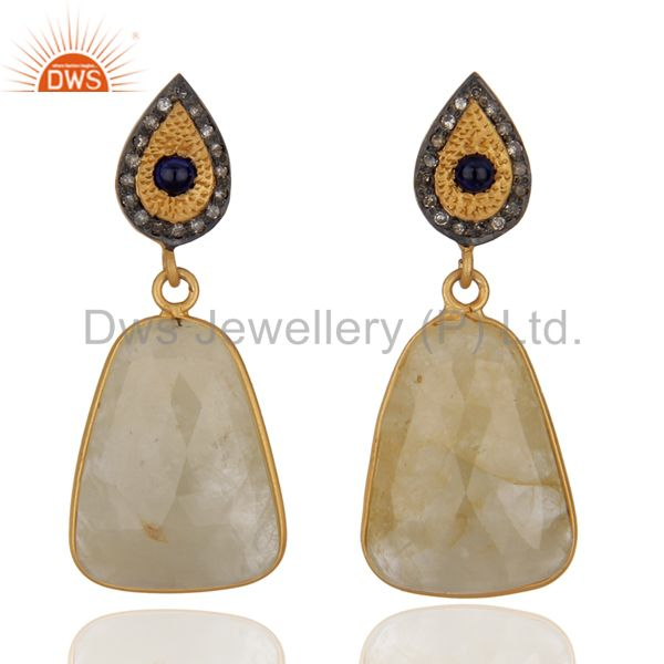 Handmade Pave Diamond Yellow Sapphire Drop Earrings 925 Sterling Silver Jewelry