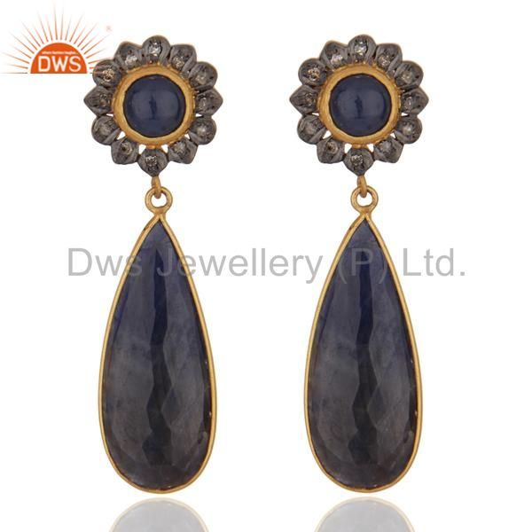 Pave Diamond Blue Sapphire Gemstone 925 Sterling Silver Designer Dangle Earrings