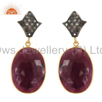 14K Yellow Gold Over Sterling Silver Pave Set Diamond And Ruby Dangle Earrings