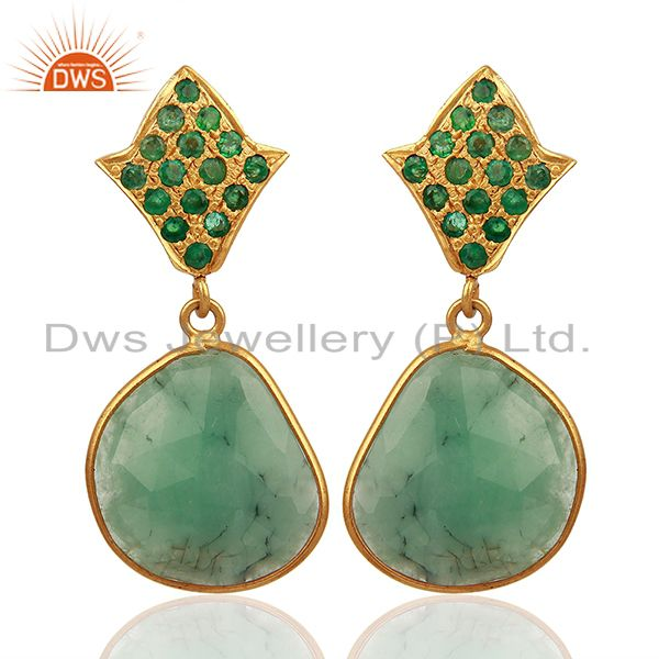 Natural Emerald Gemstone 925 Silver Womens Earrings Jewelry Supplier