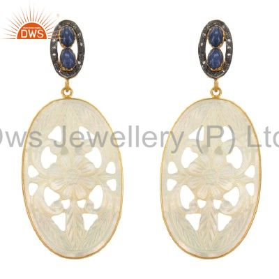 Exquisite 18k Gold Plated Carved Mother Of Pearl Sapphire Gems Silver Dangle Ear