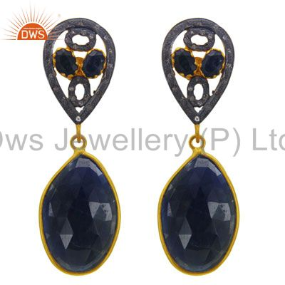 Gorgeous Dual Tear Drop Blue Sapphire Pave Diamond Sterling Silver 18K Gold Plat