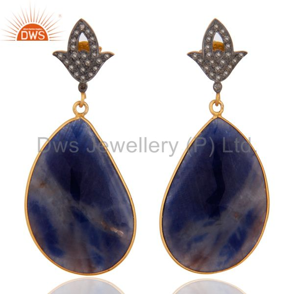 Pave Diamond Blue Sapphire Slice 18K Gold Over Sterling Silver Drop Earrings