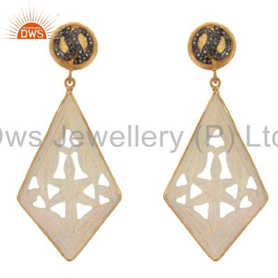 18K Gold Sterling Silver Pave Diamond And Mother Of Pearl Carving Dangle Earring