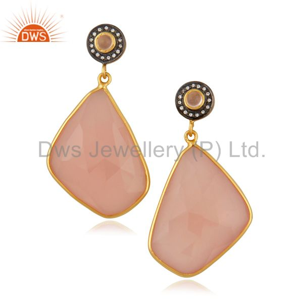 Natural Semi Precious Stone Rose Chalcedony Slice 18k Gold Plated Dangle Earring