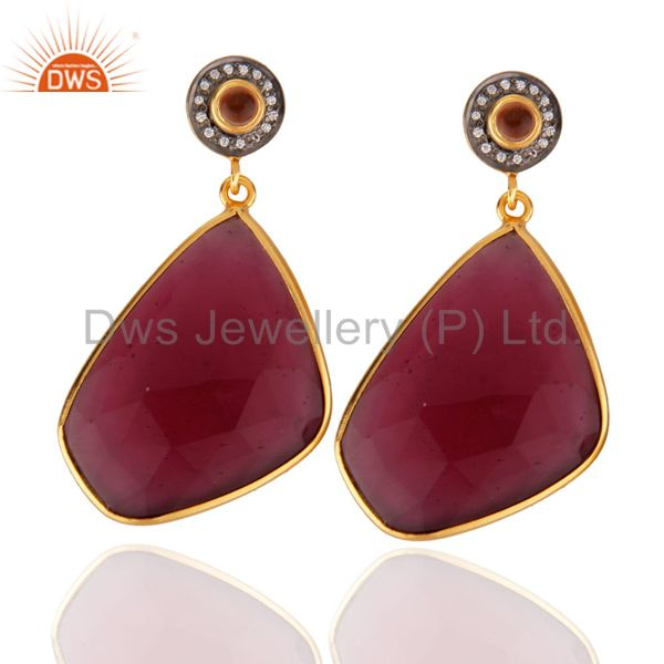 14K Yellow Gold Plated Ruby Pink Glass Bezel Set Wedding Drop Earrings With CZ