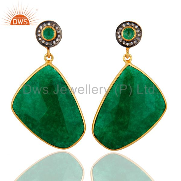 Faceted Green Aventurine Gemstone Bezel Set 18K Gold Plated Earrings With CZ