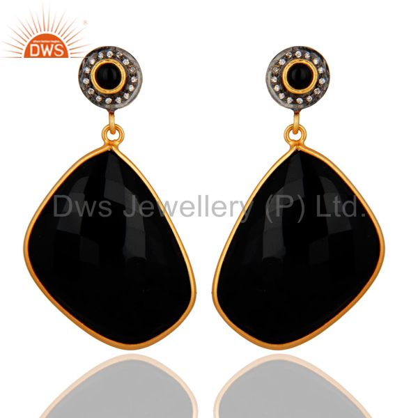 22K Yellow Gold Plated Brass Black Onyx Bezel Set Dangle Earrings With CZ