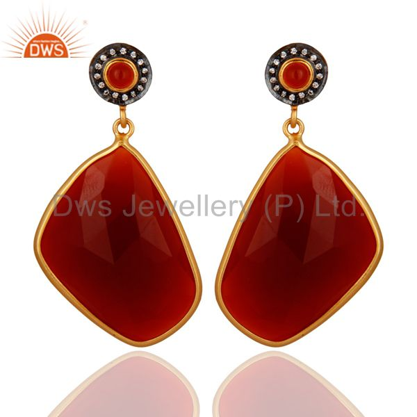 Faceted Red Onyx Gemstone Bezel-Set Dangle Earrings With Yellow Gold Plated