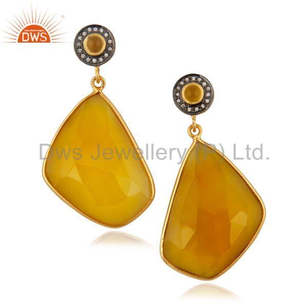 22k Yellow Gold Plated Yellow Natural Chalcedony Gemstone Slice Dangle Earrings
