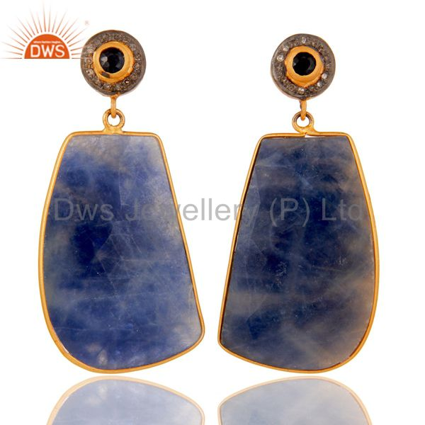 Pave Diamond 18K Gold Plated Sterling Silver Blue Sapphire Dangle Earring