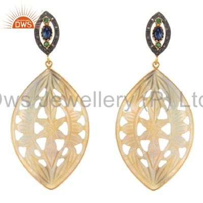 18K Gold Sterling Silver Pave Diamond And Carved Mother Of Pearl Dangle Earrings