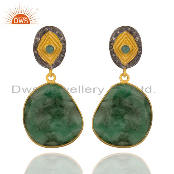 Genuine Emerald Gemstone Pave Diamond Gold Plated 925 Sterling Silver Earrings