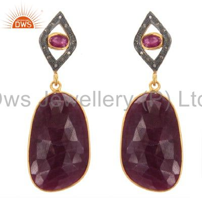 18K Gold Sterling Silver Pave Set Diamond And Ruby Gemstone Drop Earrings