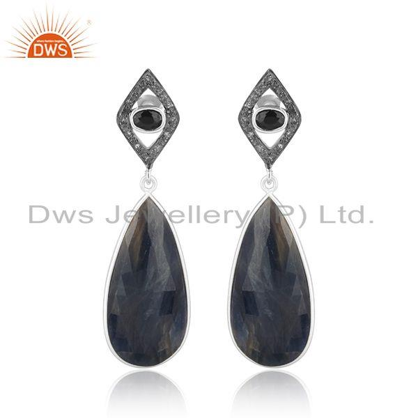 Exquisite Diamond Blue Sapphire Handmade Long Dangle in Silver 925