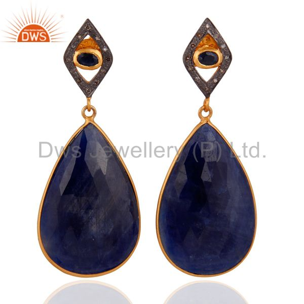 Blue Sapphire Slice Pave Diamond Gold Plated 925 Sterling Silver Women Earrings