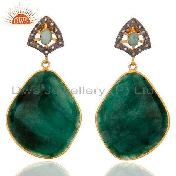Precious Gemstone Emerald Slice Diamond Handmade Sterling Silver Dangle Earring