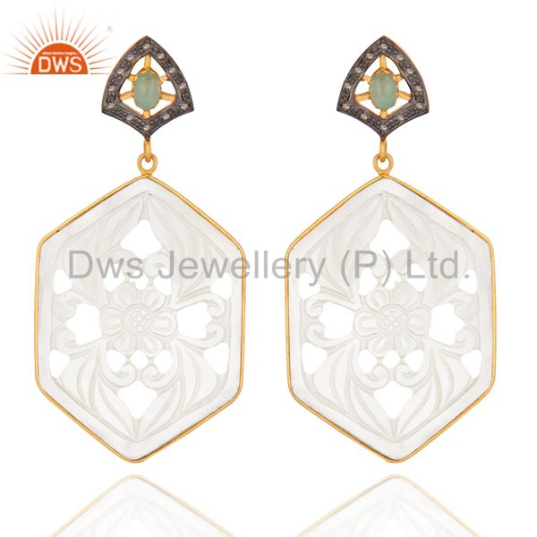 925 Sterling Silver Diamond Pave Mother of Pearl Carving Designer Fine Earrings