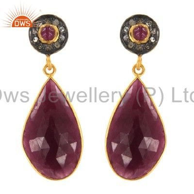 18K Yellow Gold Over Sterling Silver Pave Diamond And Ruby Teardrop Earrings