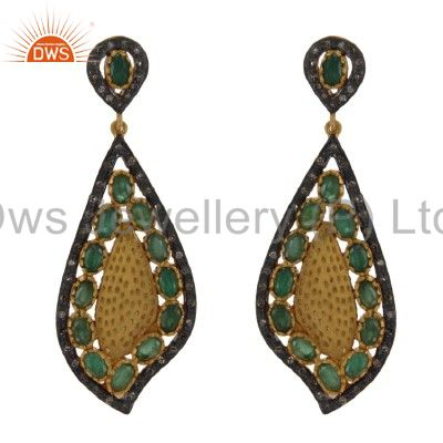 18K Yellow Gold And Sterling Silver Pave Diamond Emerald Designer Earrings