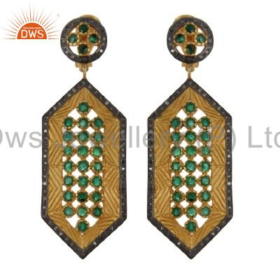 Natural Emerald And Pave Set Diamond 18K Gold Sterling Silver Dangle Earrings
