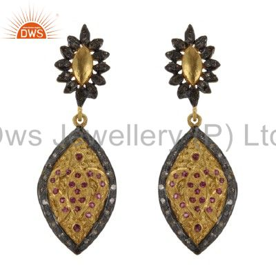 18K Yellow Gold And Sterling Silver Ruby And Pave Set Diamond Dangle Earrings