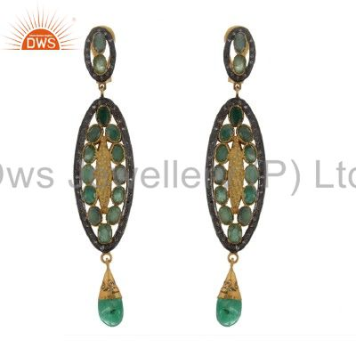 14K Yellow Gold Over Sterling Silver Pave Set Diamond Emerald Dangle Earrings