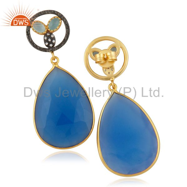 14K Yellow Gold Plated Brass CZ And Blue Chalcedony Bezel Set Teardrop Earrings
