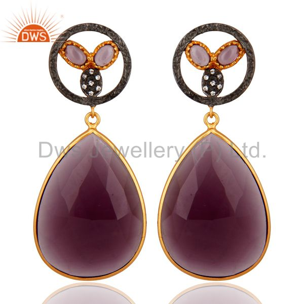 22K Yellow Gold Plated Sterling Silver Hydro Amethyst Gemstone Dangle Earrings