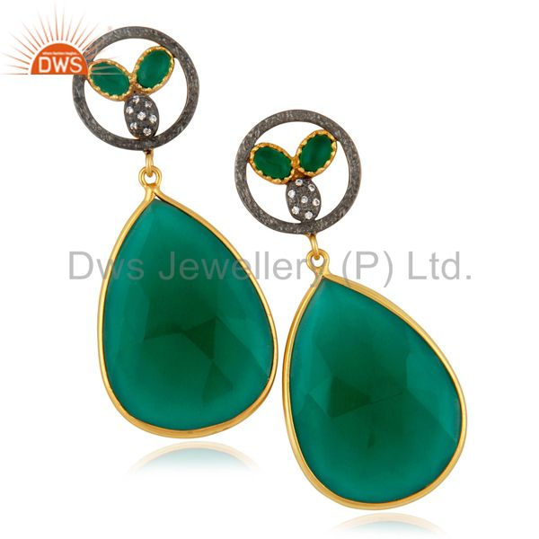 Dyed Green Glass Faceted Gemstone Bezel-Set Gold Plated Dangle Earrings With CZ