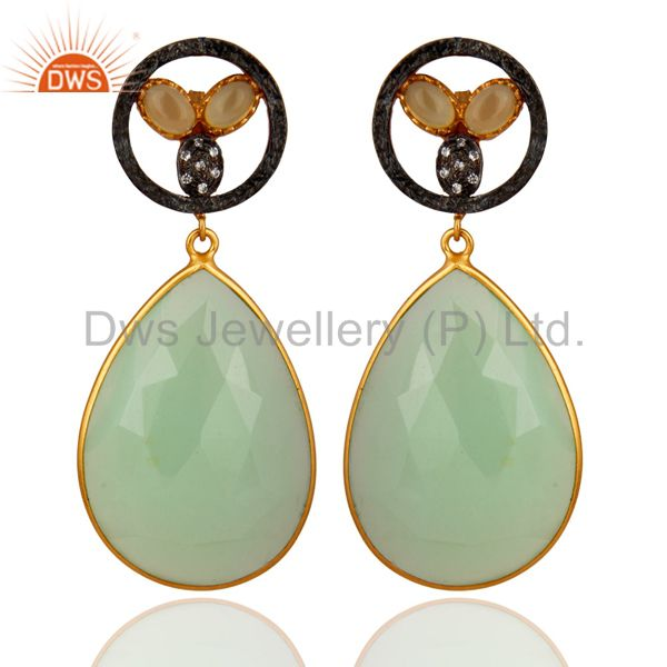 18K Gold Plated Dyed Green Chalcedony Bezel Set Drop Earrings With CZ