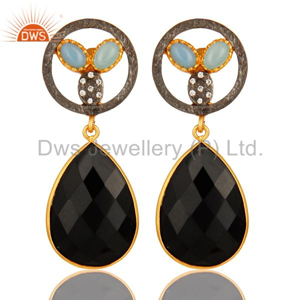 18K Gold Plated Aqua Blue Chalcedony And Black Onyx Bezel Set Drop Earrings