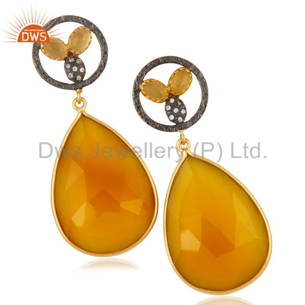 14K Yellow Gold Plated Brass CZ & Yellow Chalcedony Bezel Set Teardrop Earrings