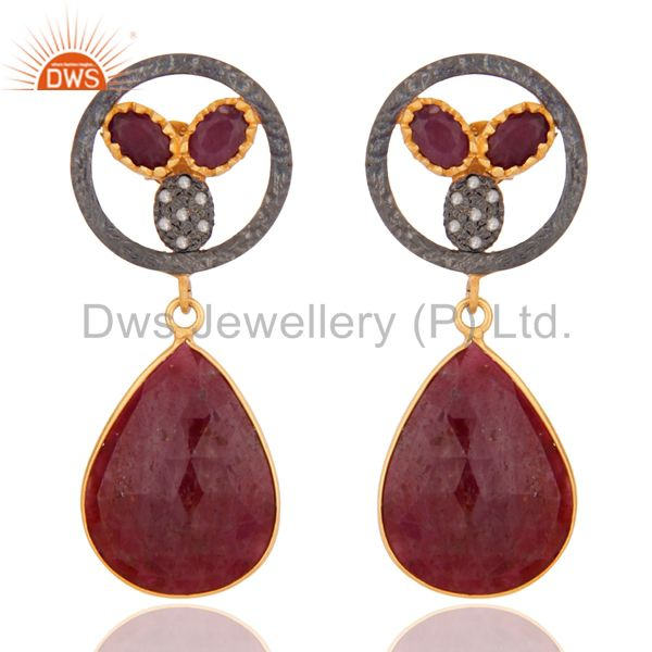 Handmade 925 Sterling Silver Pave Diamond Ruby Gemstone Lady Drop Dangle Earring