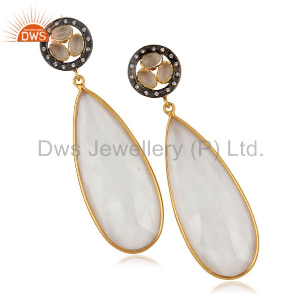 Crystal Quartz Bezel Set Fashion Drop Earrings With CZ In 14K Gold Over Brass
