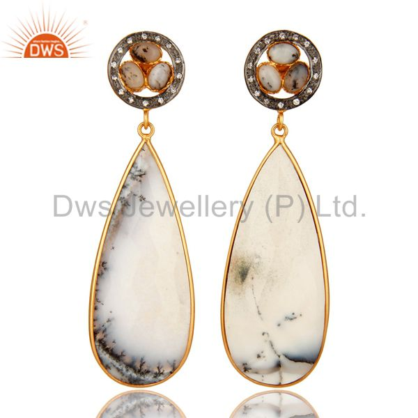 Handmade Dendritic Opal Bezel Set Dangle Earrings Made In 18K Gold On Brass