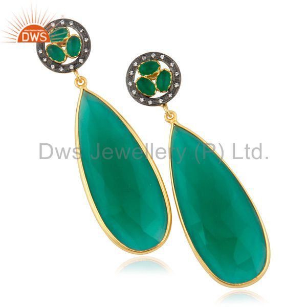 Bezel Setting Faceted Green Glass Gemstone Drop Earrings With Gold Plated