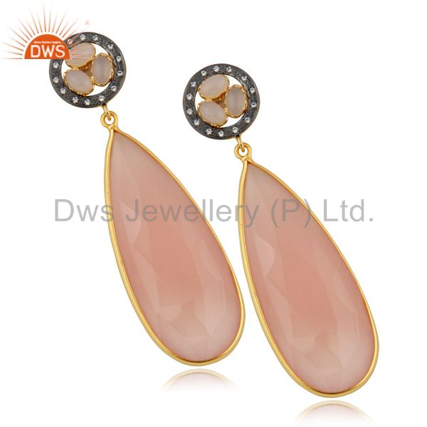 14K Yellow Gold Plated Rose Chalceodny Bezel Set Teardrop Earrings With CZ