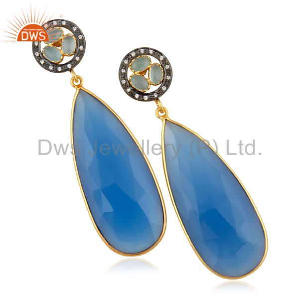 14K Yellow Gold Plated Brass Turquoise Bezel Set Fashion Drop Earrings With CZ