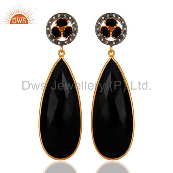 Yellow Gold Plated Faceted Black Onyx Gemstone Bezel-Set Dangle Earrings