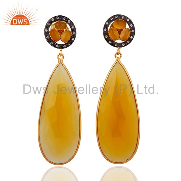 Attractive Designer 18k Yellow Gold Plated Chalcedony Gemstone CZ Dangle Earring