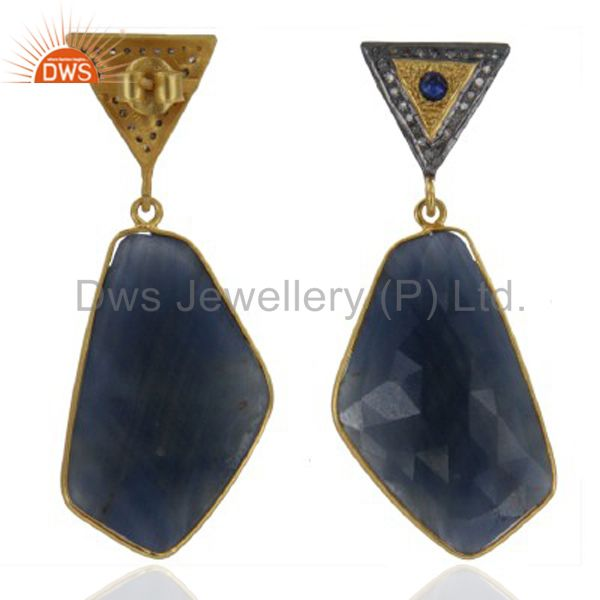18K Gold Over Sterling Silver Blue Sapphire Pave Diamond Drop Earrings