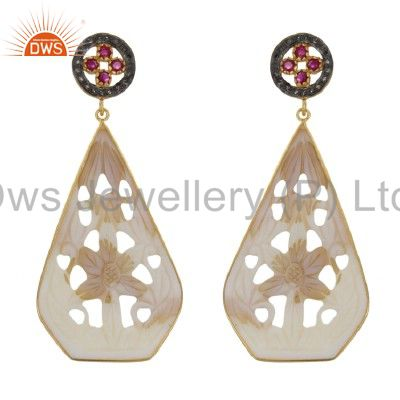 18K Gold Over Silver Pave Diamond Ruby, Mother Of Pearl Carving Dangle Earrings