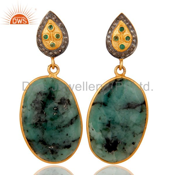 18k Gold Over 925 Sterling Silver Slice Gemstone Emerald and Diamond Earrings