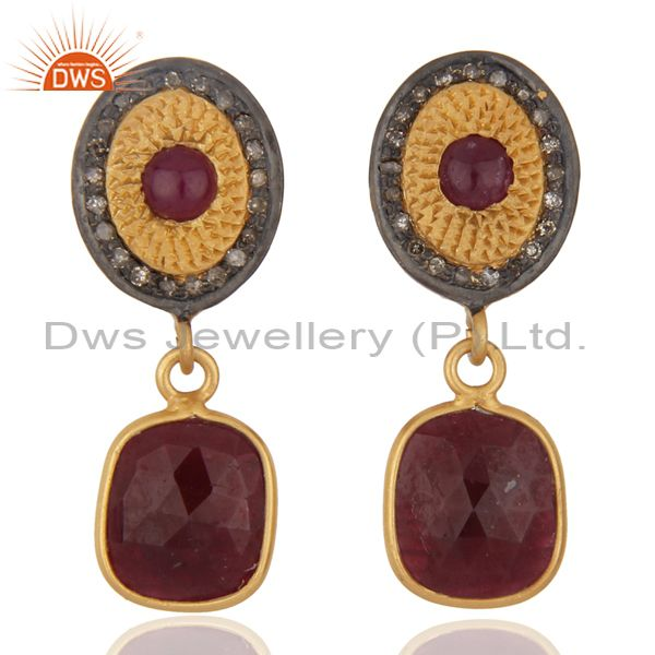 18k Yellow Gold On Sterling Silver Ruby Slice Diamond Pave Set Dangle Earrings