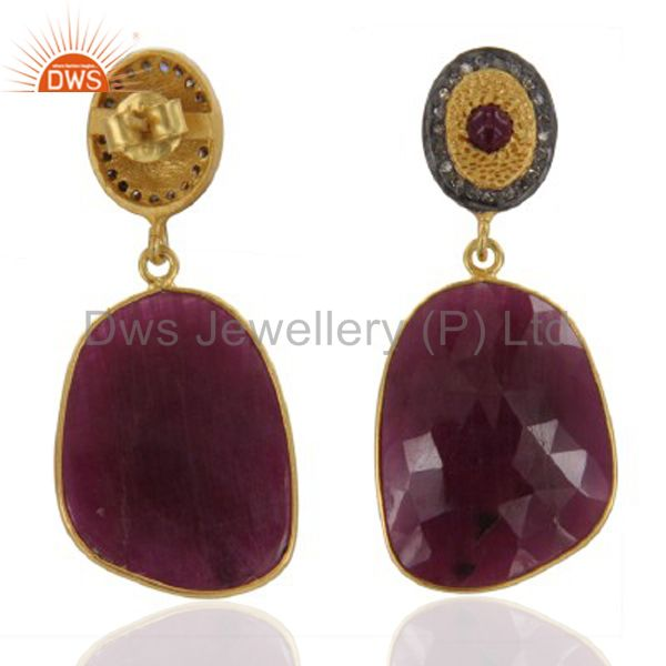 18k Yellow Gold Over Sterling Silver Ruby Slice Diamond Pave Set Dangle Earrings